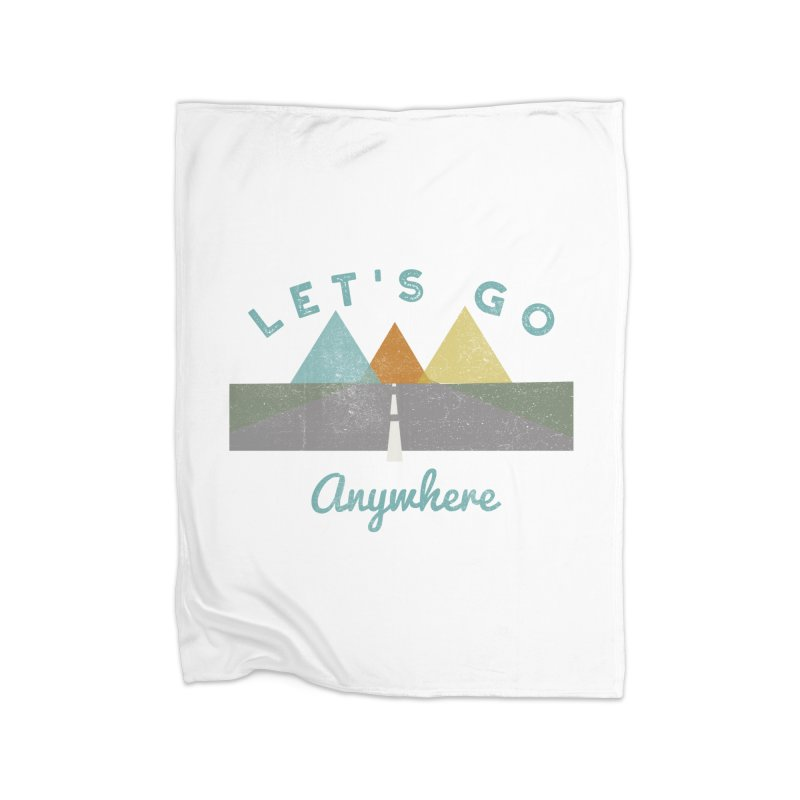 Let's Go Anywhere Mountains Road Trip Home Blanket by Awkward Design Co. Artist Shop