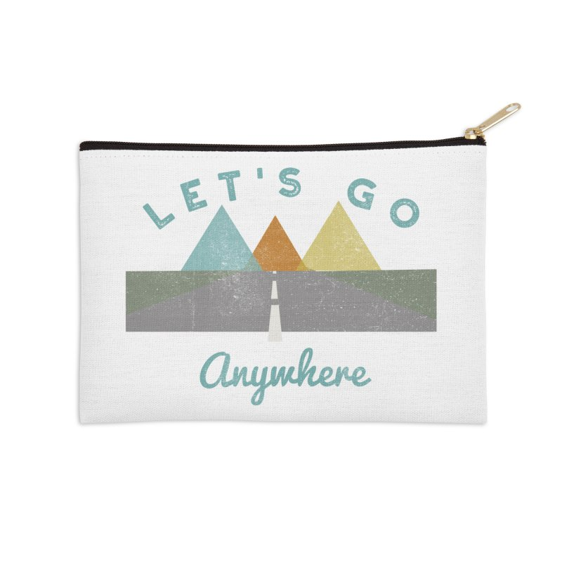 Let's Go Anywhere Mountains Road Trip Accessories Zip Pouch by Awkward Design Co. Artist Shop