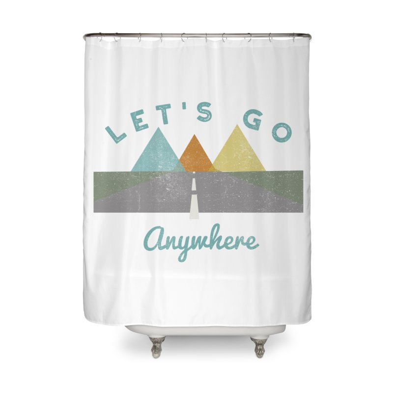 Let's Go Anywhere Mountains Road Trip Home Shower Curtain by Awkward Design Co. Artist Shop