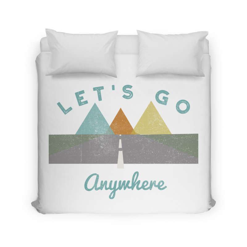 Let's Go Anywhere Mountains Road Trip Home Duvet by Awkward Design Co. Artist Shop