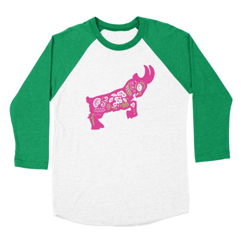 Pretty in Pink Pygmy Goat in Men's Baseball Triblend T-Shirt Tri-Kelly Sleeves by Awkward Design Co. Artist Shop