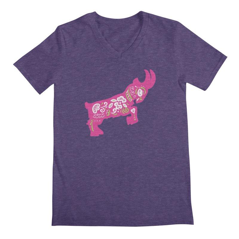 Pretty in Pink Pygmy Goat Men's V-Neck by Awkward Design Co. Artist Shop