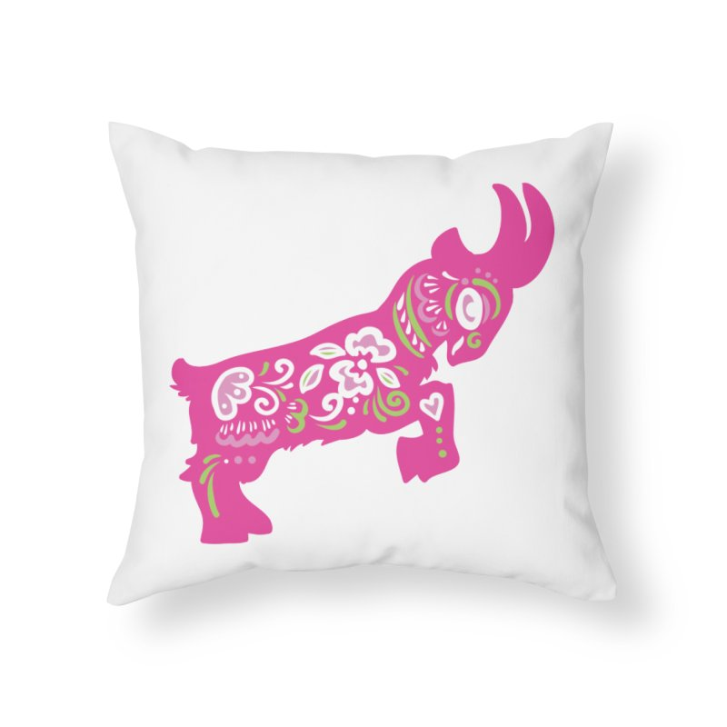Pretty in Pink Pygmy Goat Home Throw Pillow by Awkward Design Co. Artist Shop