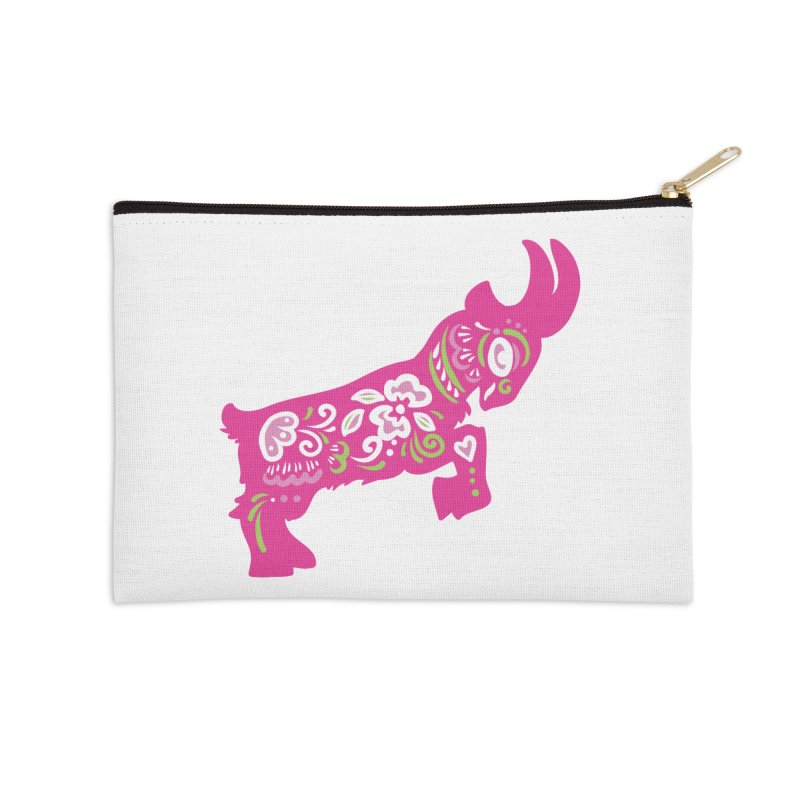 Pretty in Pink Pygmy Goat Accessories Zip Pouch by Awkward Design Co. Artist Shop