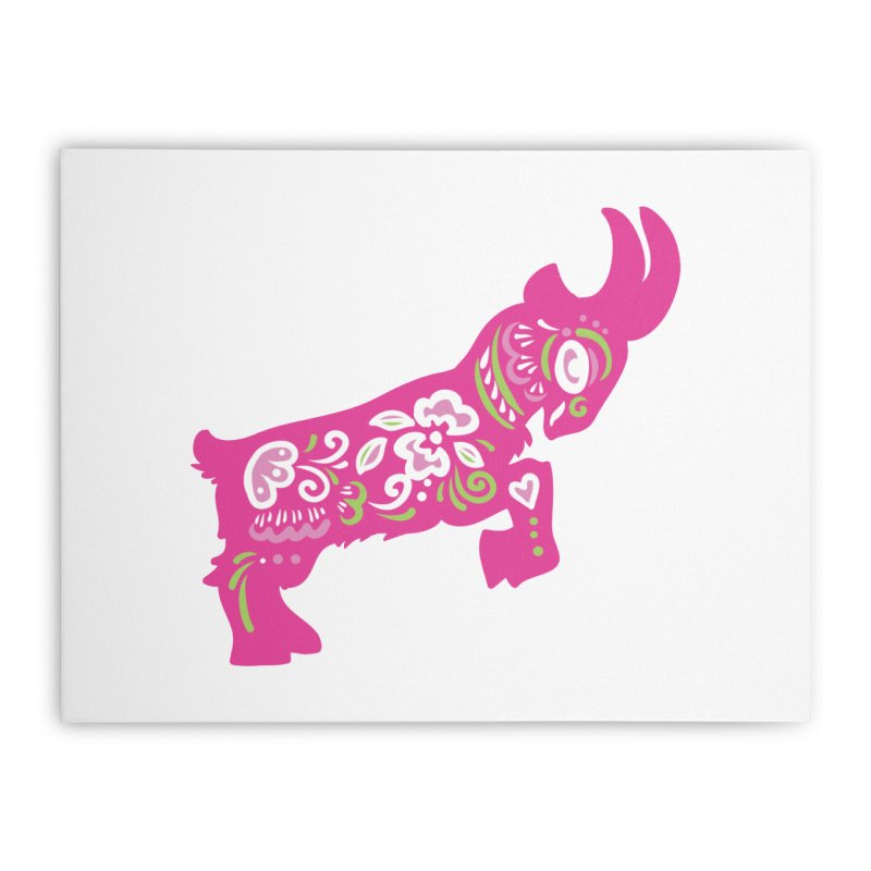 Pretty in Pink Pygmy Goat Home Stretched Canvas by Awkward Design Co. Artist Shop