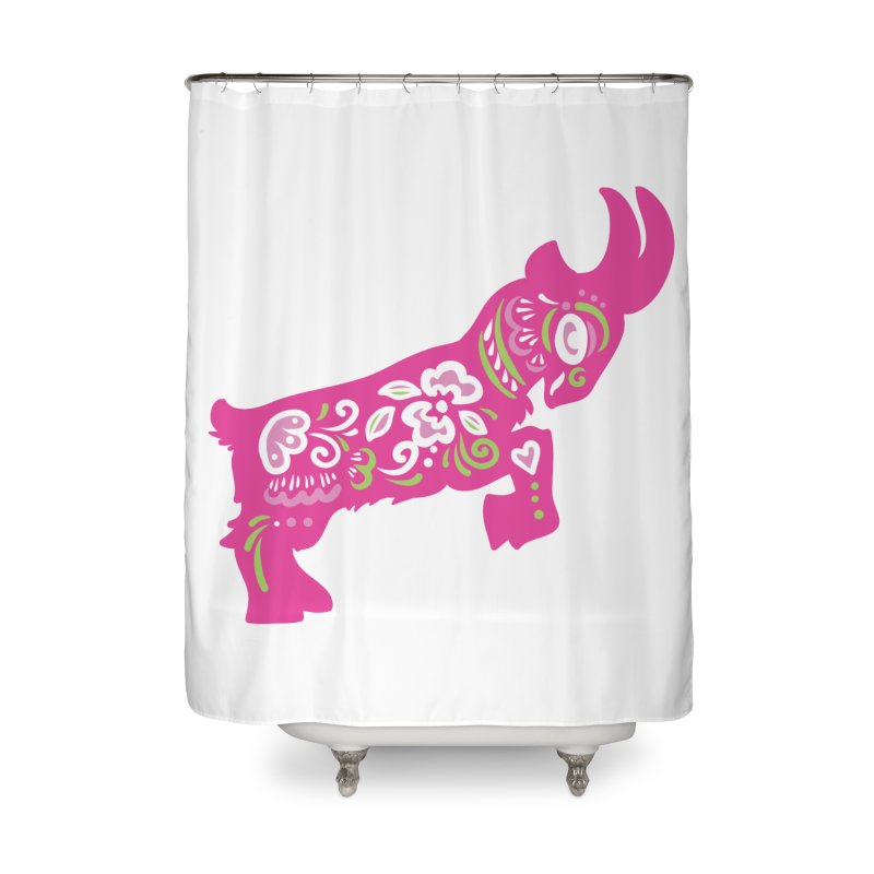 Pretty in Pink Pygmy Goat Home Shower Curtain by Awkward Design Co. Artist Shop