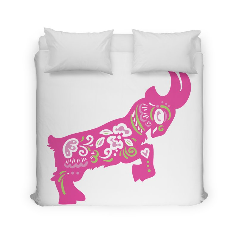 Pretty in Pink Pygmy Goat Home Duvet by Awkward Design Co. Artist Shop
