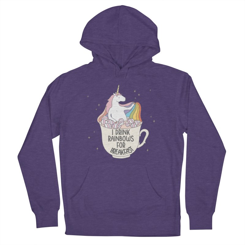 I Drink Rainbows for Breakfast Unicorn in Men's Pullover Hoody Heather Purple by Awkward Design Co. Artist Shop