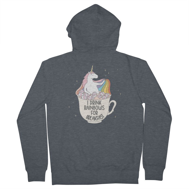 I Drink Rainbows for Breakfast Unicorn Men's Zip-Up Hoody by Awkward Design Co. Artist Shop