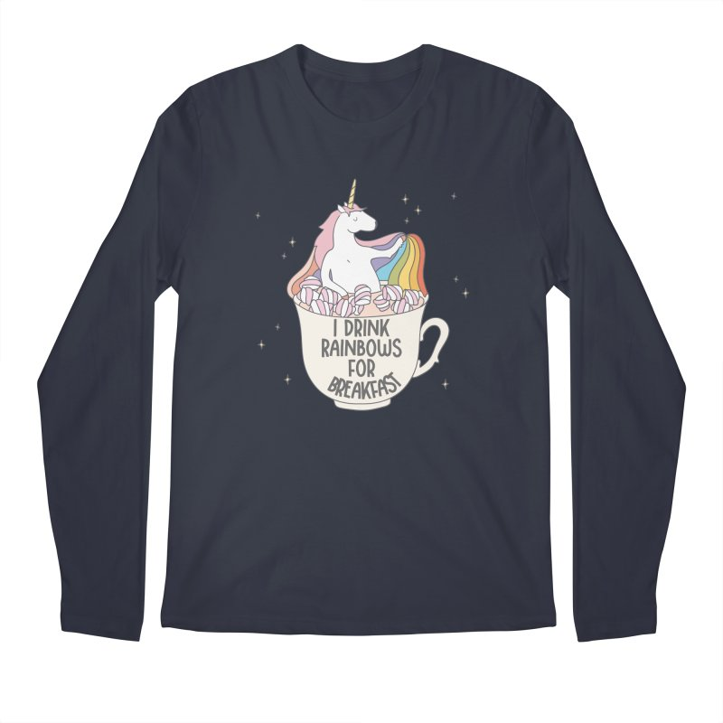 I Drink Rainbows for Breakfast Unicorn Men's Longsleeve T-Shirt by Awkward Design Co. Artist Shop