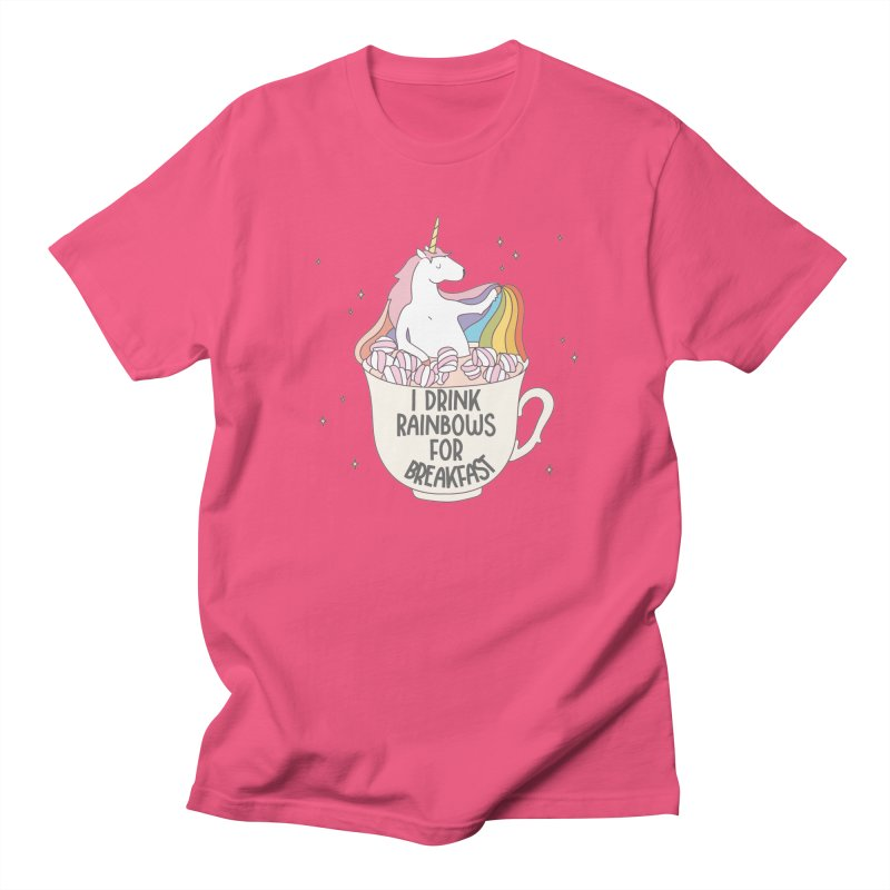 I Drink Rainbows for Breakfast Unicorn Men's T-shirt by Awkward Design Co. Artist Shop