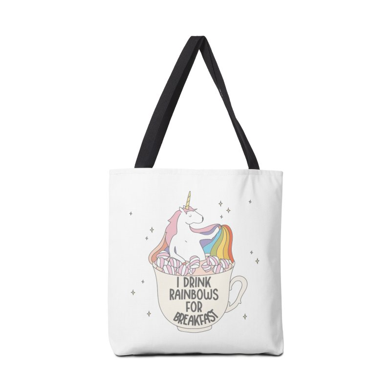 I Drink Rainbows for Breakfast Unicorn Accessories Bag by Awkward Design Co. Artist Shop