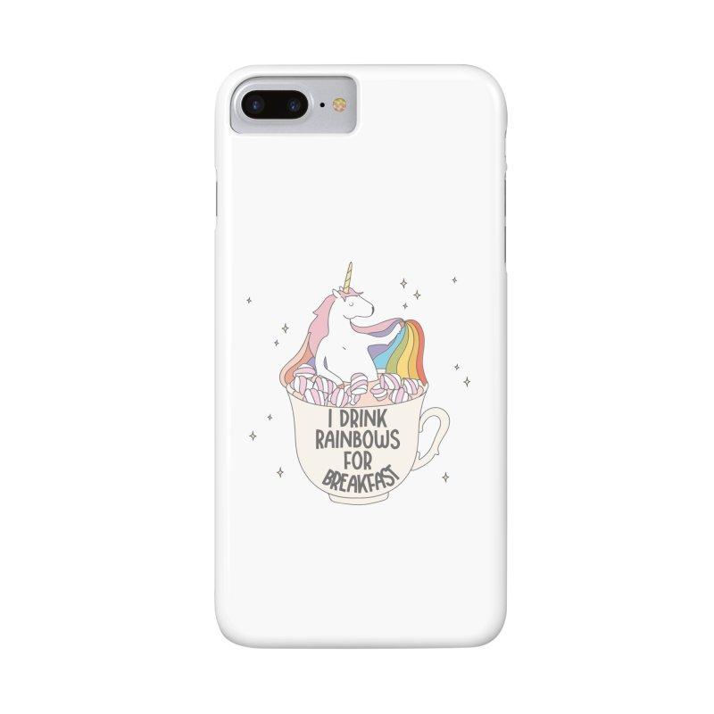 I Drink Rainbows for Breakfast Unicorn Accessories Phone Case by Awkward Design Co. Artist Shop