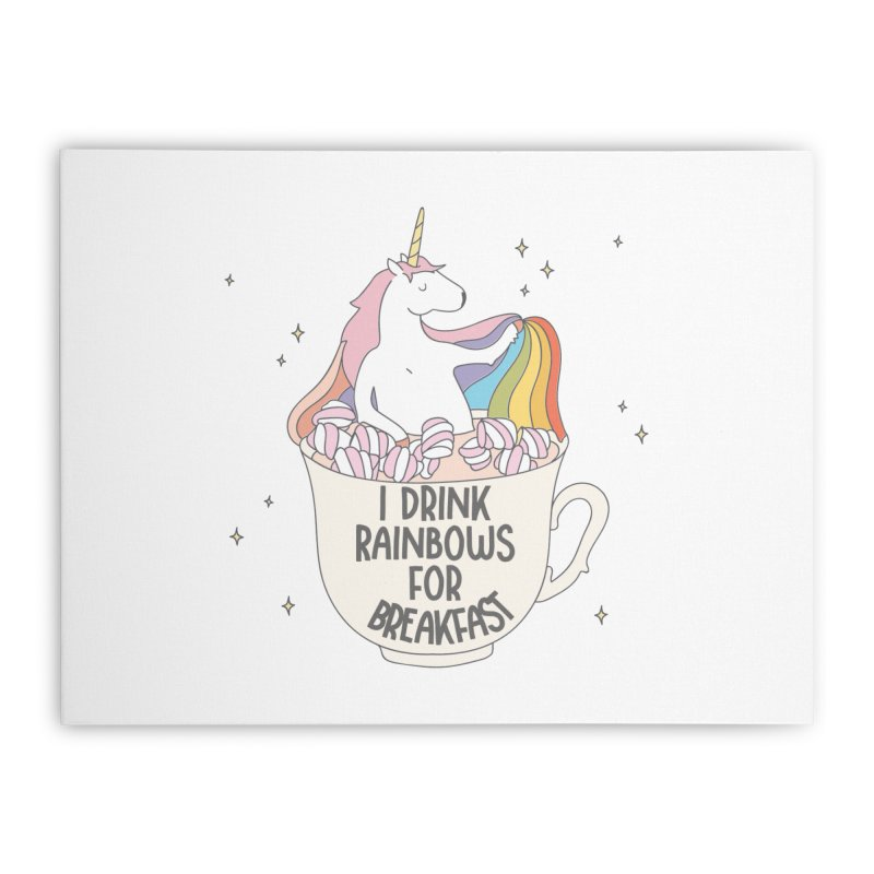I Drink Rainbows for Breakfast Unicorn Home Stretched Canvas by Awkward Design Co. Artist Shop