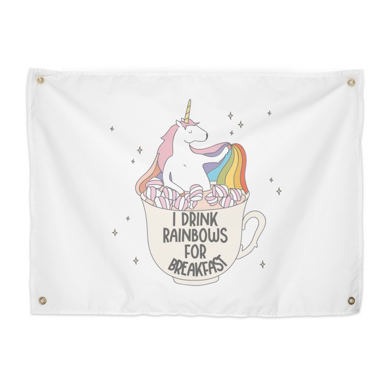 I Drink Rainbows for Breakfast Unicorn Home Tapestry by Awkward Design Co. Artist Shop