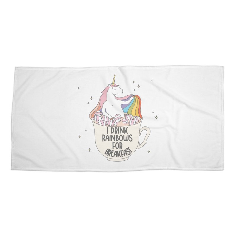 I Drink Rainbows for Breakfast Unicorn Accessories Beach Towel by Awkward Design Co. Artist Shop