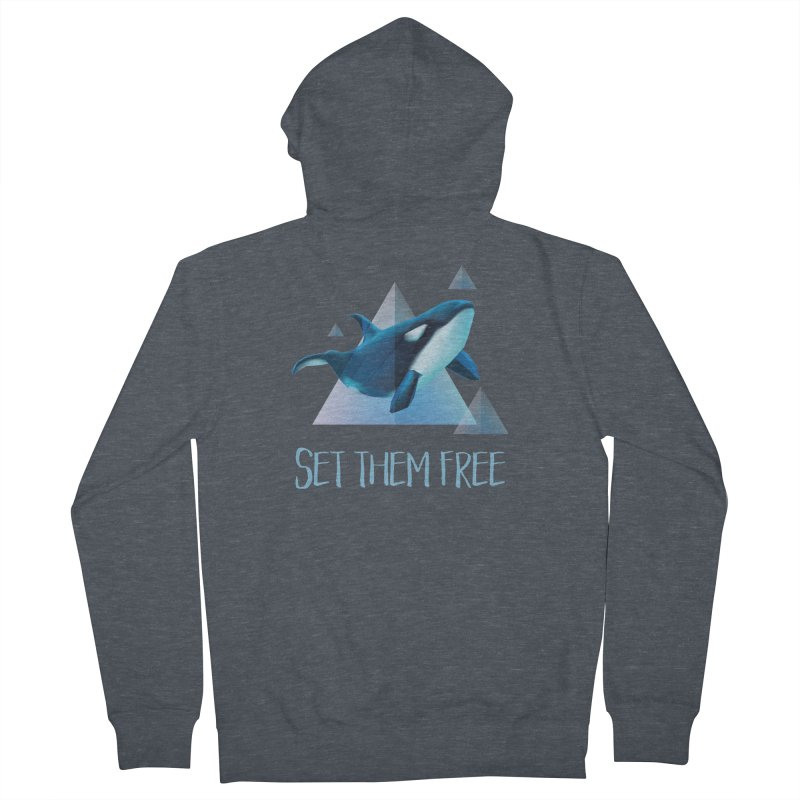 Set Them Free Orca Whales for Animal Rights Activists Men's Zip-Up Hoody by Awkward Design Co. Artist Shop