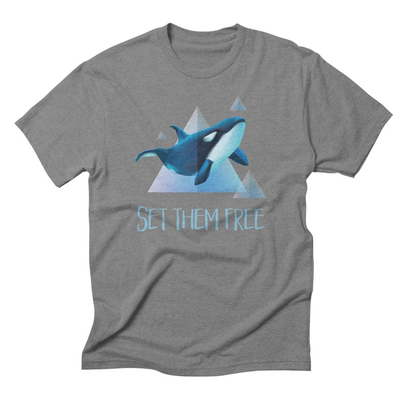 Set Them Free Orca Whales for Animal Rights Activists Men's Triblend T-shirt by Awkward Design Co. Artist Shop