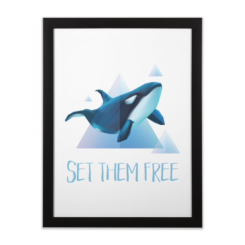 Set Them Free Orca Whales for Animal Rights Activists Home Framed Fine Art Print by Awkward Design Co. Artist Shop