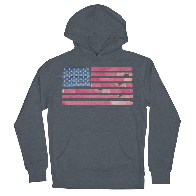 Patriotic Pride Distressed Style American Flag in Men's Pullover Hoody Heather Navy Denim by Awkward Design Co. Artist Shop