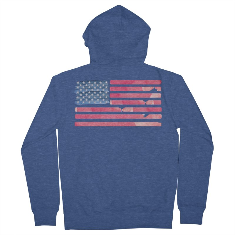 Patriotic Pride Distressed Style American Flag Men's Zip-Up Hoody by Awkward Design Co. Artist Shop