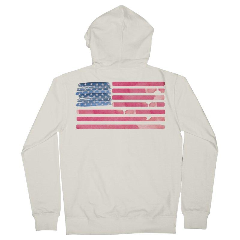 Patriotic Pride Distressed Style American Flag Men's Zip-Up Hoody by Awkward Design Co. Artist Shop