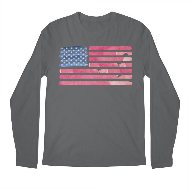 Patriotic Pride Distressed Style American Flag Men's Longsleeve T-Shirt by Awkward Design Co. Artist Shop