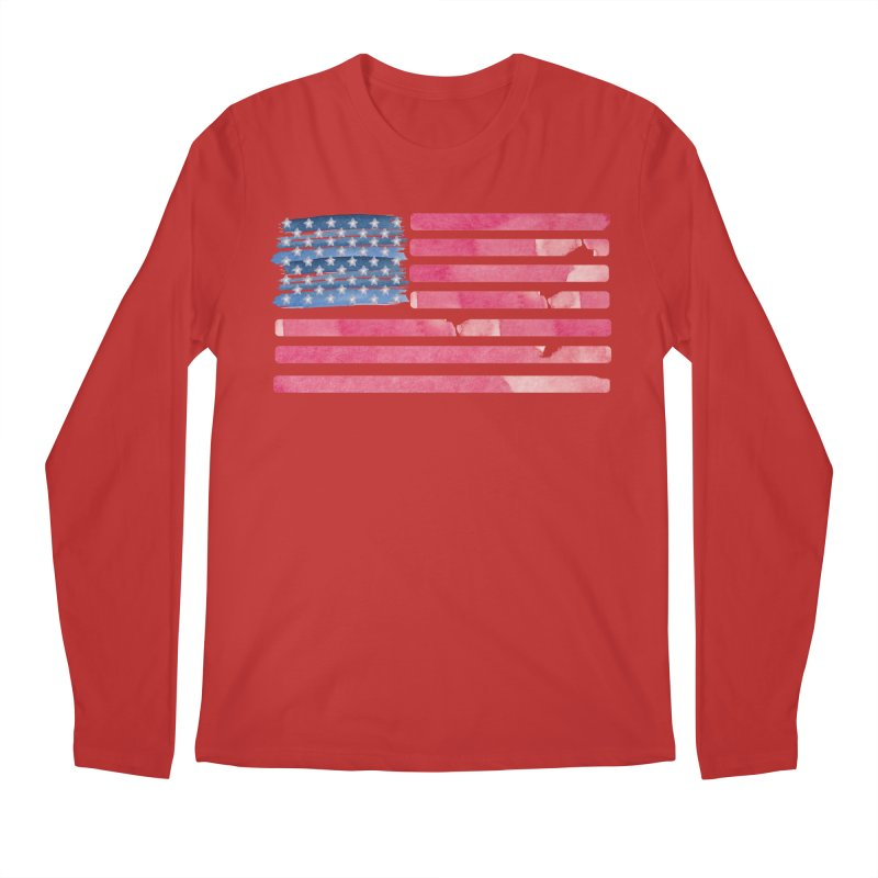 Patriotic Pride Distressed Style American Flag Men's Longsleeve T-Shirt by Awkward Design Co. Artist Shop