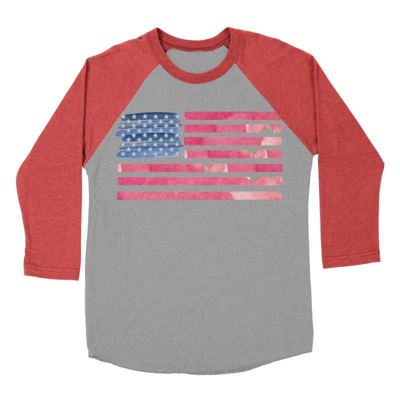 Patriotic Pride Distressed Style American Flag Men's Baseball Triblend T-Shirt by Awkward Design Co. Artist Shop