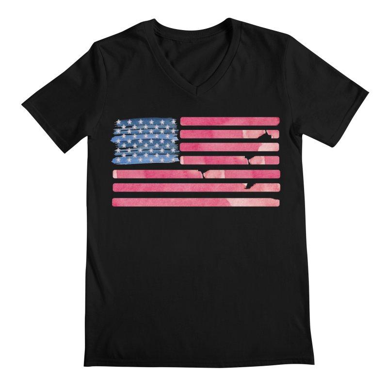 Patriotic Pride Distressed Style American Flag Men's V-Neck by Awkward Design Co. Artist Shop