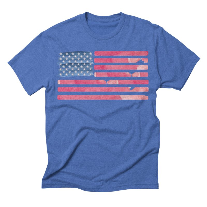 Patriotic Pride Distressed Style American Flag Men's Triblend T-shirt by Awkward Design Co. Artist Shop