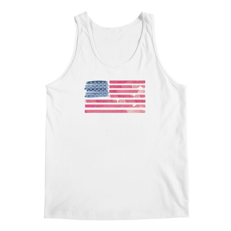 Patriotic Pride Distressed Style American Flag Men's Tank by Awkward Design Co. Artist Shop