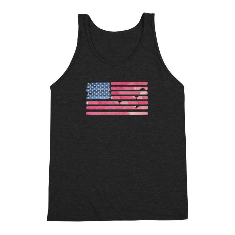 Patriotic Pride Distressed Style American Flag Men's Triblend Tank by Awkward Design Co. Artist Shop