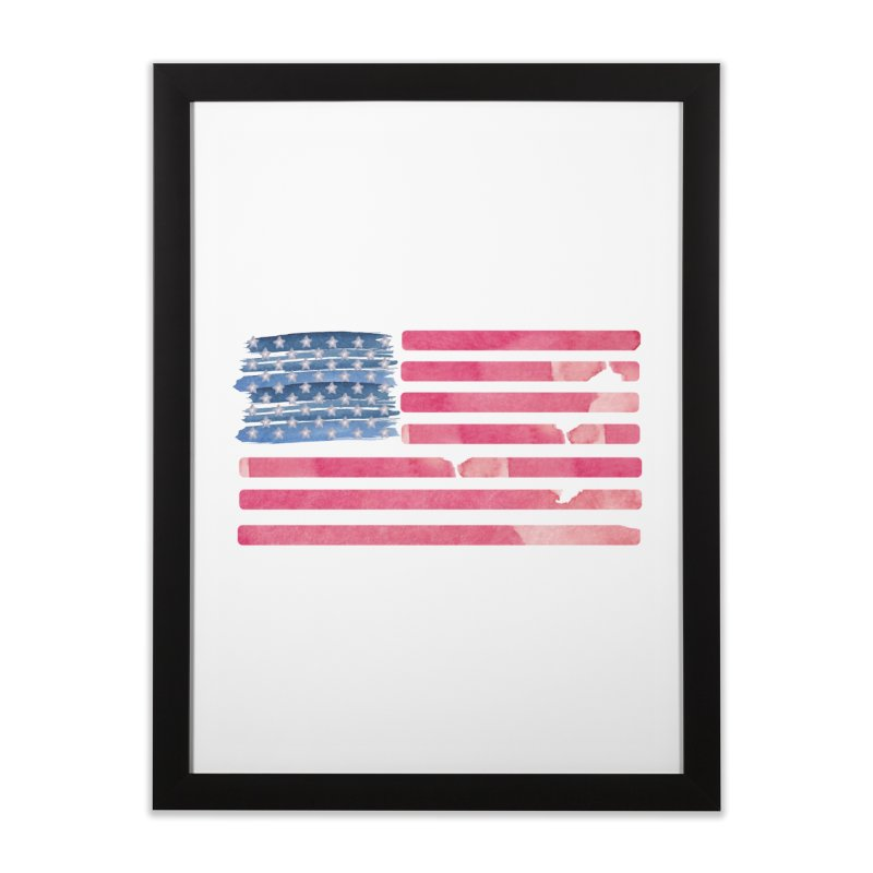 Patriotic Pride Distressed Style American Flag Home Framed Fine Art Print by Awkward Design Co. Artist Shop