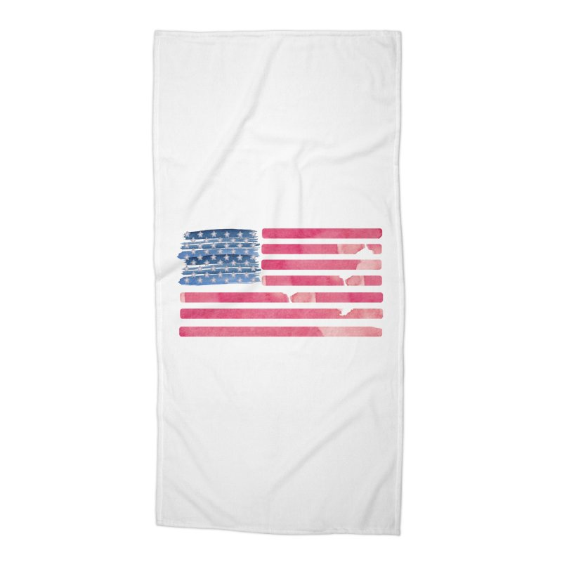 Patriotic Pride Distressed Style American Flag Accessories Beach Towel by Awkward Design Co. Artist Shop