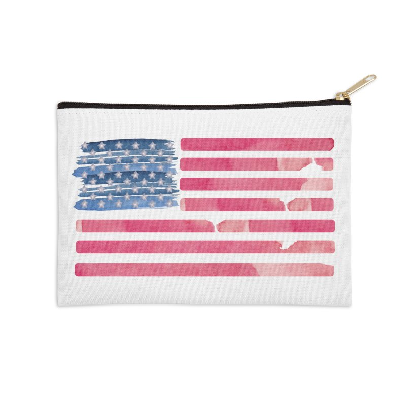 Patriotic Pride Distressed Style American Flag Accessories Zip Pouch by Awkward Design Co. Artist Shop