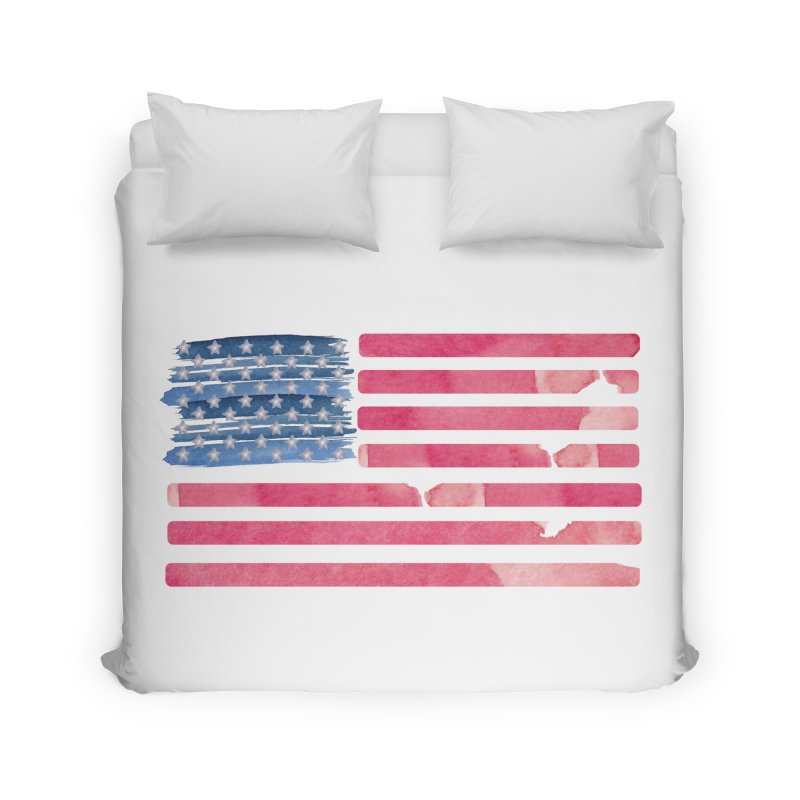 Patriotic Pride Distressed Style American Flag Home Duvet by Awkward Design Co. Artist Shop
