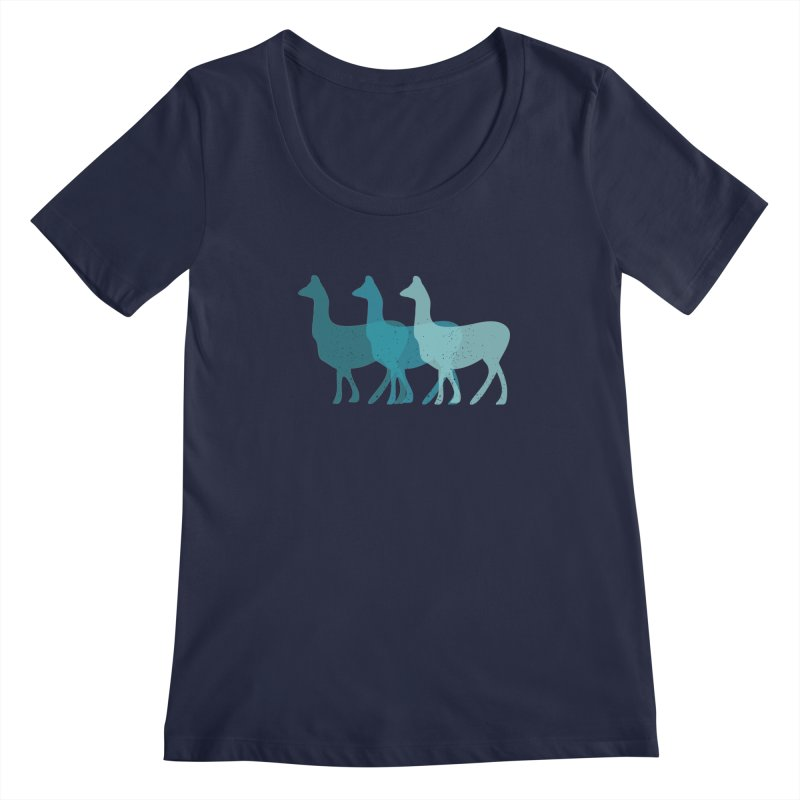 Blue Alpacas Women's Scoopneck by Awkward Design Co. Artist Shop
