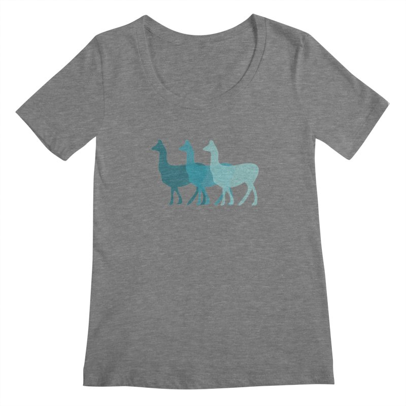 Blue Alpacas Women's Scoopneck by Awkward Design Co. Artist Shop