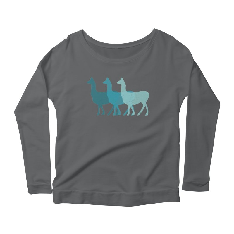 Blue Alpacas Women's Longsleeve Scoopneck  by Awkward Design Co. Artist Shop