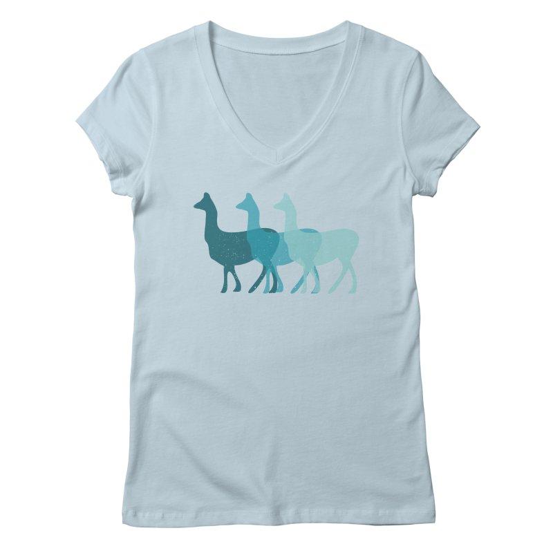 Blue Alpacas Women's V-Neck by Awkward Design Co. Artist Shop