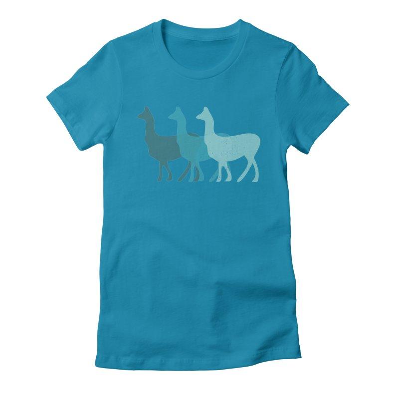 Blue Alpacas Women's Fitted T-Shirt by Awkward Design Co. Artist Shop