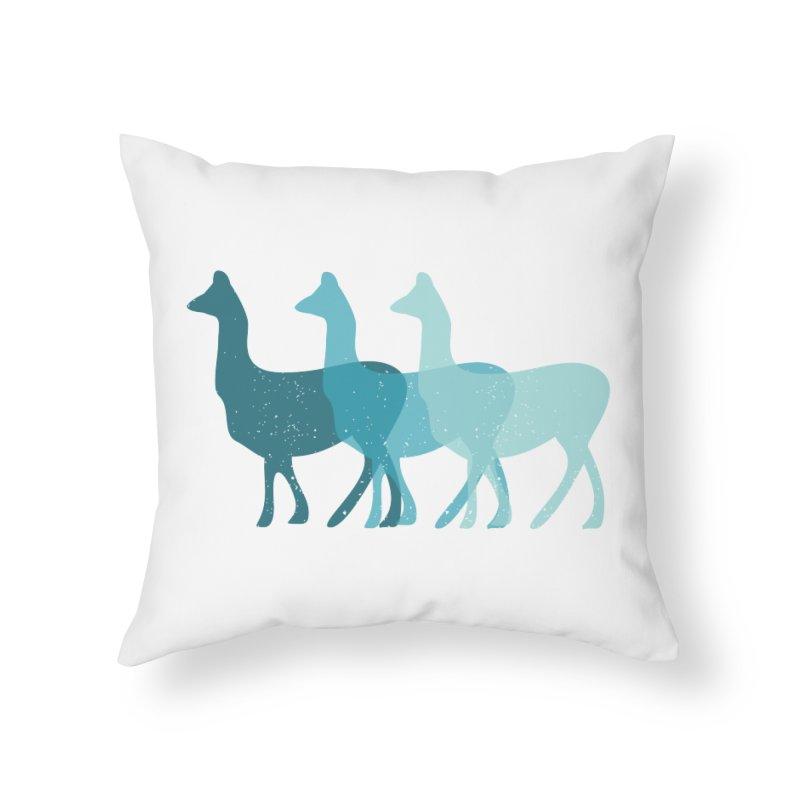 Blue Alpacas Home Throw Pillow by Awkward Design Co. Artist Shop