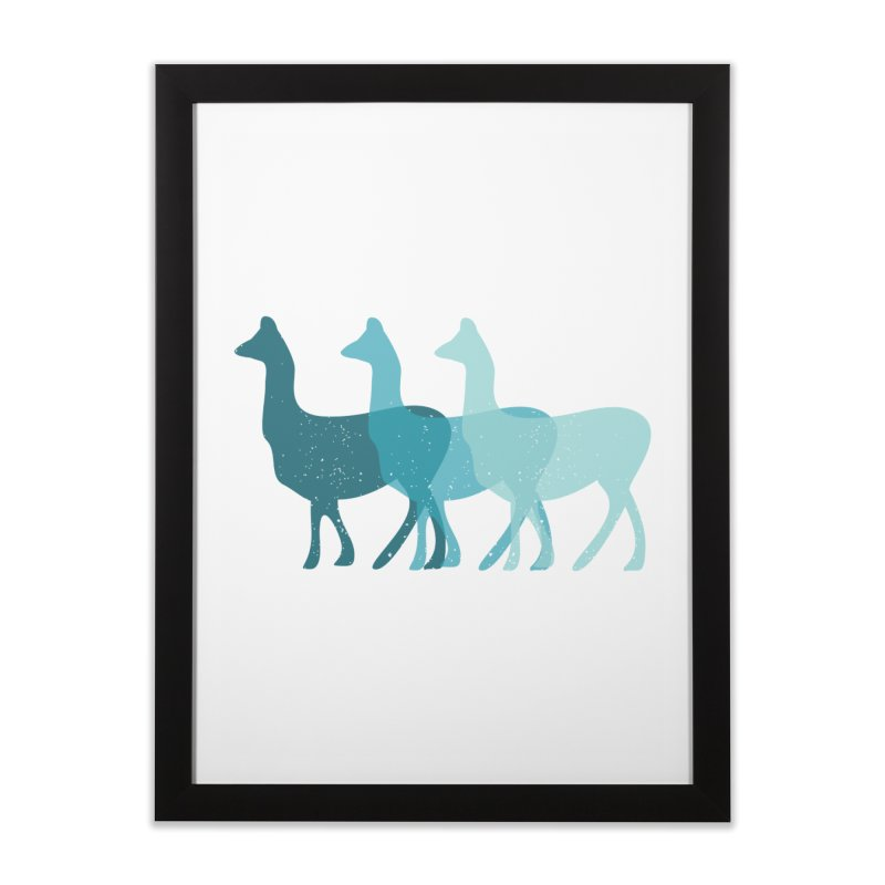 Blue Alpacas Home Framed Fine Art Print by Awkward Design Co. Artist Shop