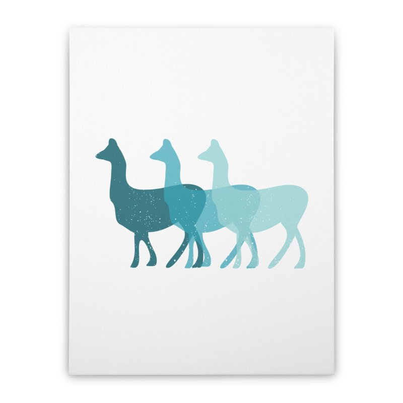 Blue Alpacas Home Stretched Canvas by Awkward Design Co. Artist Shop