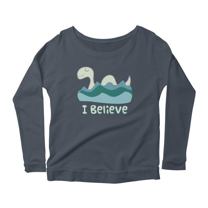 I Believe in Lake Monsters Women's Longsleeve Scoopneck  by Awkward Design Co. Artist Shop