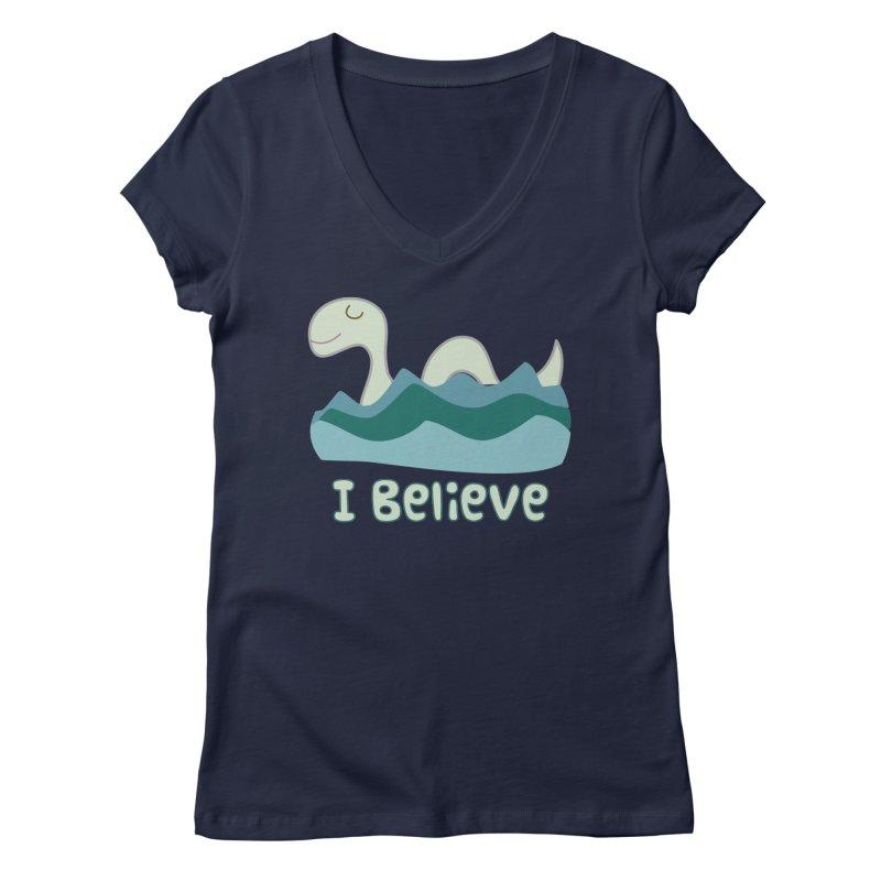 I Believe in Lake Monsters Women's V-Neck by Awkward Design Co. Artist Shop