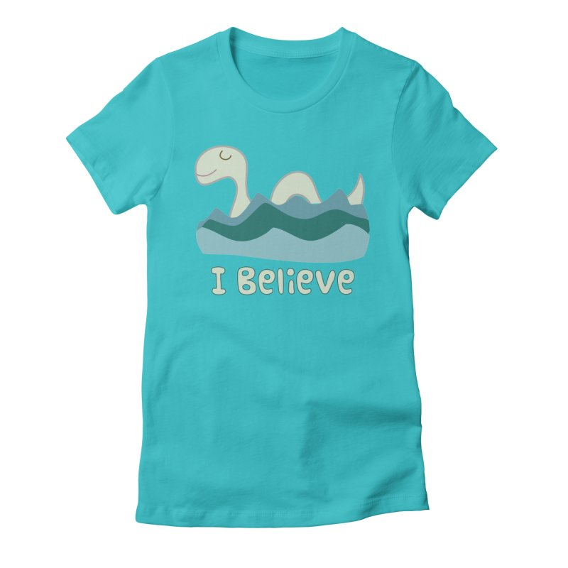 I Believe in Lake Monsters Women's Fitted T-Shirt by Awkward Design Co. Artist Shop