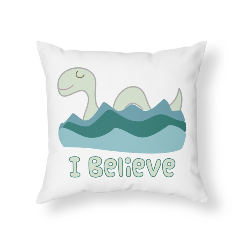 I Believe in Lake Monsters Home Throw Pillow by Awkward Design Co. Artist Shop