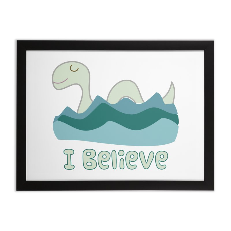 I Believe in Lake Monsters Home Framed Fine Art Print by Awkward Design Co. Artist Shop